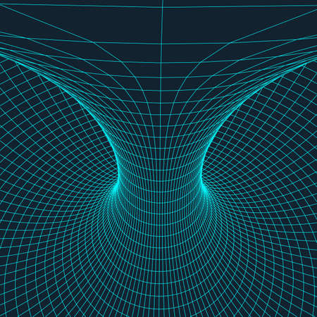 torus: Wire frame mesh polygonal element. Torus with connected lines and dots.