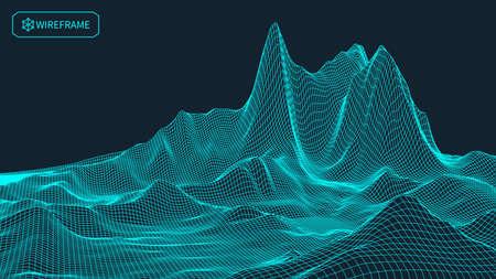 Resumen de fondo del paisaje. rejilla ciberespacio. ilustración de la tecnología 3D.