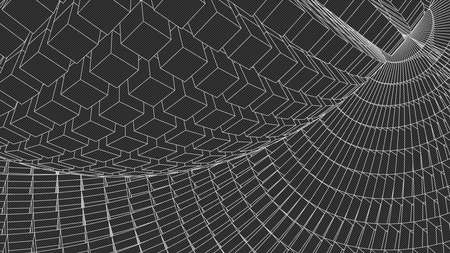 grid background: Abstract landscape background. Cyberspace grid.