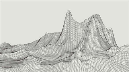 Abstract 3d Illuminated distorted Mesh Sphere . Neon Sign . Futuristic Technology HUD Element . Elegant Destroyed . Big data . Illustration