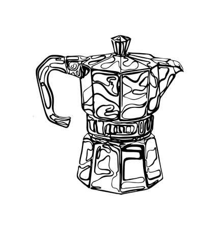 Coffee Percolator clip art hand drawn Illustration