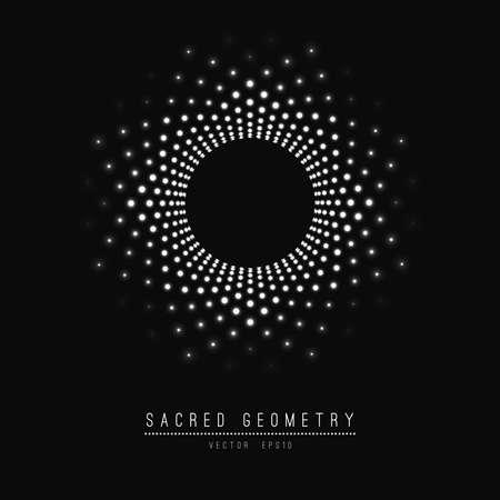 Flower of Life. Sacred Geometry. Symbol harmonii i równowagi. Ilustracje wektorowe