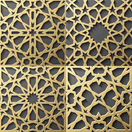 이슬람 패턴입니다. 원활한 아랍어 기하학적 패턴, 동쪽 장식, 인도 장식, 페르시아어 모티브, 3D. 벽지, 패턴 채우기, 웹 페이지 배경에 끝없는 질감을