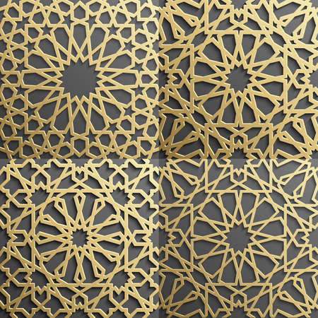 used ornament: Islamic pattern.Seamless arabic geometric pattern, east ornament, indian ornament, persian motif, 3D. Endless texture can be used for wallpaper, pattern fills, web page background .