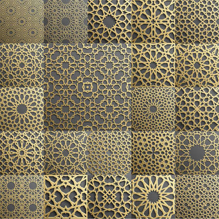 Islamic pattern . Seamless arabic geometric pattern, east ornament, indian ornament, persian motif, 3D. Endless texture can be used for wallpaper, pattern fills, web page background . Vettoriali