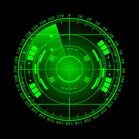 Radar screen. illustration for your design. Technology background. Futuristic user interface. Radar display with scanning. HUD. Stockfoto