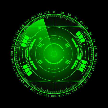 sonar: Schermo radar. illustrazione per la progettazione. Tecnologia sfondo. Interfaccia utente futuristico. radar con la scansione. HUD.