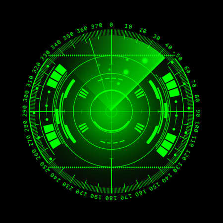 sonar: Radar screen. illustration for your design. Technology background. Futuristic user interface. Radar display with scanning. HUD. Archivio Fotografico