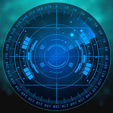 blip: Radar screen. illustration for your design. Technology background. Futuristic user interface. Radar display with scanning. HUD. Stock Photo