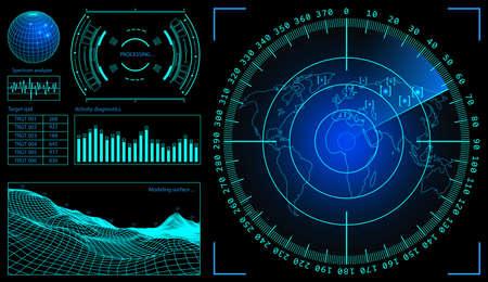 Military green radar. Screen with target. Futuristic HUD interface. Stock illustration.