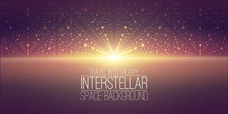 hyperspace: interstellar space background.Cosmic galaxy illustration.Background with nebula, stardust and bright shining stars. Illustration for party ,artwork, brochures. Stock Photo