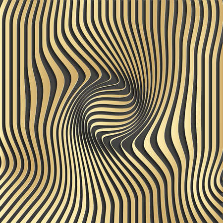 distort: Gold abstract stripe pattern background.Optical illusion, twisted lines, abstract curves background. The illusion of depth and perspective.Abstract 3d illustration.