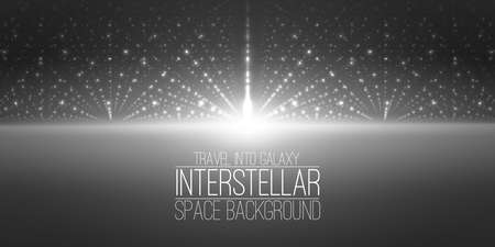interstellar: interstellar space background.Cosmic galaxy illustration.Background with nebula, stardust and bright shining stars. Illustration for party ,artwork, brochures. Stock Photo