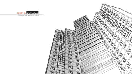 drawing a plan: Urbanistic skyscraper. Abstract 3D render of building wire frame structure. construction graphic idea for template design.Modern Building.Perspective city wiev.