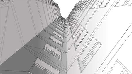 urbanism: Urbanistic skyscraper. Abstract 3D render of building wire frame structure. construction graphic idea for template design.Modern Building.Perspective city wiev.