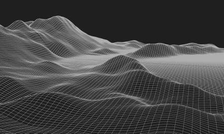 3D Wireframe Terrain (Wide Angle) | EPS10 Vector Illustration