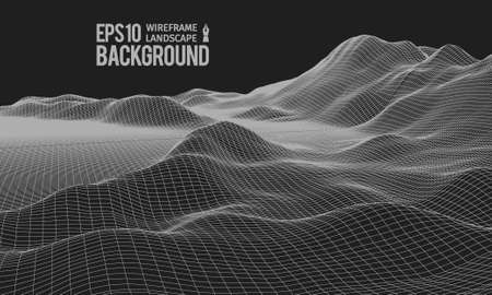 rural area: 3D Wireframe Terrain (Wide Angle) | EPS10 Vector Illustration