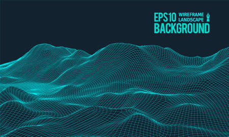 3D Wireframe Terrain (Wide Angle) | EPS10 Vector Ilustrace