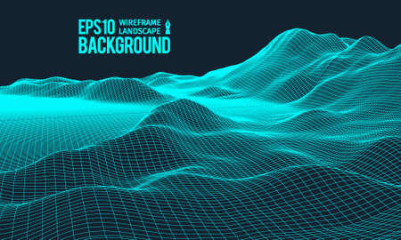 rural area: 3D Wireframe Terrain Wide Angle EPS10 Vector
