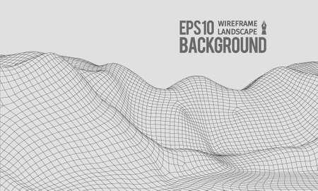 Wireframe 3D Terrain Grandangolo EPS10 Vector Vettoriali