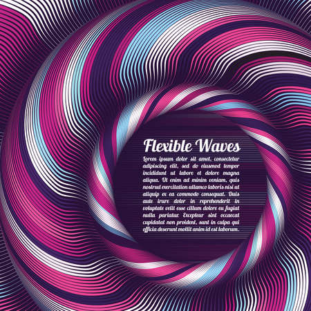 Abstract vector background, waved lines vector illustration colorful design. Wavy stripes twisted as silk . Colored stripes with variable width. Fashion , Illustration