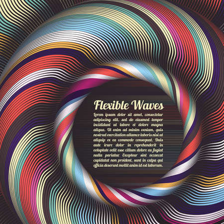Abstract vector background, waved lines vector illustration colorful design. Wavy stripes twisted as silk . Colored stripes with variable width. Fashion ,