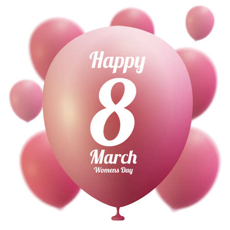 8 March Women s Day greeting card template . Pink ballon ,vector illustration
