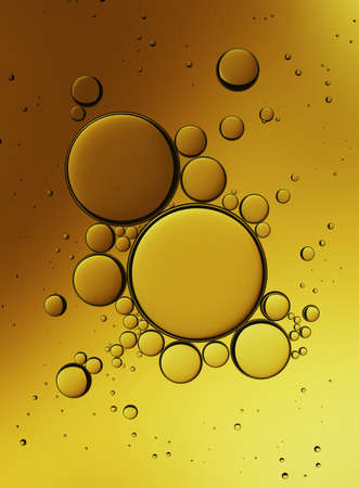 mixed wallpaper: Oil Bubbles Isolated on White Background, Closeup Collagen Emulsion in Water. Illustration. Gold Droplets.