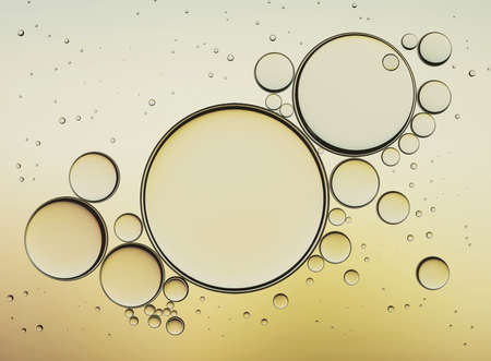Oil Bubbles Isolated on White Background, Closeup Collagen Emulsion in Water. Illustration. Gold Droplets. Banco de Imagens - 72307462