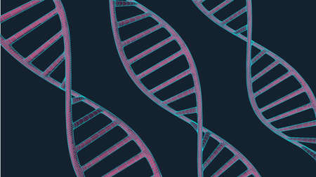 Grey DNA with polygon line on blue background. Polygonal space low poly with connecting dots and lines. Connection structure. Vector science background.