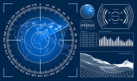 미래의 사용자 인터페이스 게임 제작 또는 푸티 지 오버레이를위한 HUD 기술 요소. 공상 과학 벡터 디자인 세트 일러스트