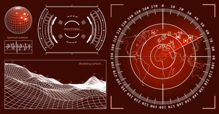 futurist: Futuristic user interface HUD tech elements for game creation or footage overlay. Sci-fi vector design set