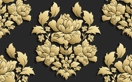 Wallpaper in the style of Baroque . Vector damask seamless floral pattern . Rose floral ornament .