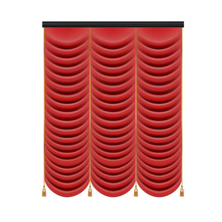 Set of red curtains to theater stage. Mesh vector . Stock Photo