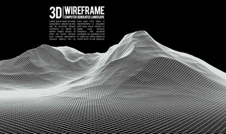 Abstract vector wireframe landscape background. Cyberspace grid. 3d technology wireframe vector illustration. Digital wireframe landscape for presentations . Фото со стока - 75190049