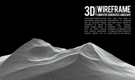 topographical: Abstract vector wireframe landscape background. Cyberspace grid. 3d technology wireframe vector illustration. Digital wireframe landscape for presentations .