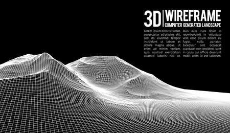 Abstracte vector wireframe landschapsachtergrond. Cyberspace-raster. 3d technologie wireframe vectorillustratie. Digitaal draadmodellandschap voor presentaties. Stock Illustratie