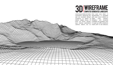 topographical: Abstract vector wireframe landscape background. Cyberspace grid. 3d technology wireframe vector illustration. Digital wireframe landscape Illustration