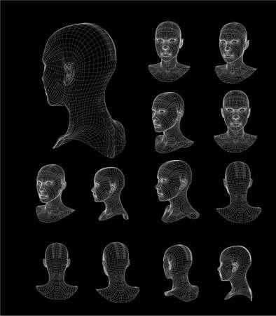 Wireframe head 3d model vector illustration design