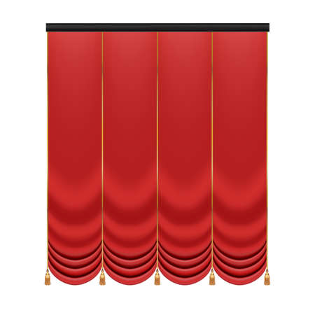 playhouse: Set of red curtains to theater stage. Mesh vector . Illustration
