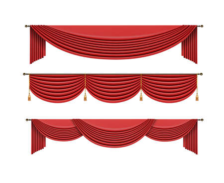 Set of red curtains to theater stage. Mesh vector . Ilustração