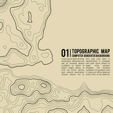 Topographic map background with space for copy . Line topography map contour background , geographic grid abstract vector illustration . Mountain hiking trail over terrain . Banco de Imagens - 76069325