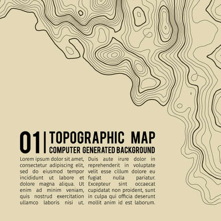 Topographic map background with space for copy . Line topography map contour background , geographic grid abstract vector illustration . Mountain hiking trail over terrain . 向量圖像
