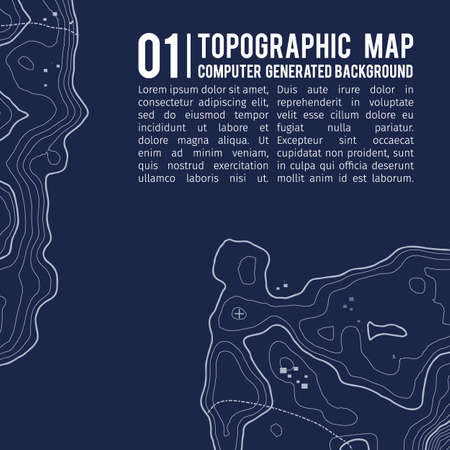 Topographic map background with space for copy . Line topography map contour background , geographic grid abstract vector illustration . Mountain hiking trail over terrain . Banco de Imagens - 76075336