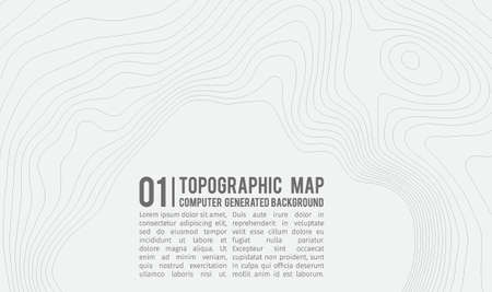 Topographic map pattern with space for copy . Line topography map contour pattern, geographic grid abstract vector illustration. Mountain hiking trail over terrain . Illustration