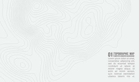 Topographic map background with space for copy . Line topography map contour background , geographic grid abstract vector illustration . Mountain hiking trail over terrain . Banco de Imagens - 76081312