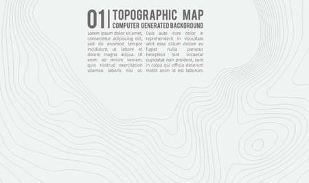 Topographic map background with space for copy . Line topography map contour background , geographic grid abstract vector illustration . Mountain hiking trail over terrain . Ilustração