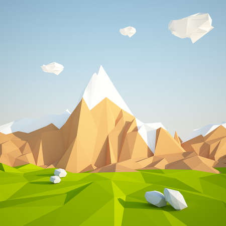 Abstract low poly background with green grass and white clouds flying in the air . Early morning sunny illustration