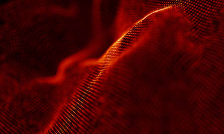 Abstract Red Geometrical Background . Connection structure. Science background. Futuristic Technology HUD Element . ?onnecting dots and lines . Big data visualization and Business .