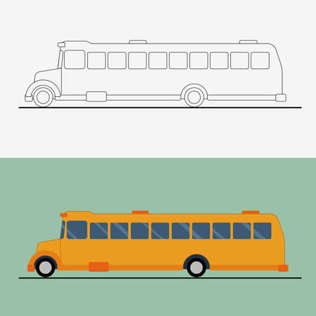 Yellow flat school bus . Bus vector illustration. Public transport line art concept.